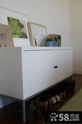 家庭白色玄关鞋柜装修效果图大全