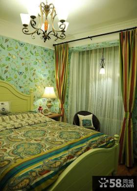 田园设计卧室窗帘效果图