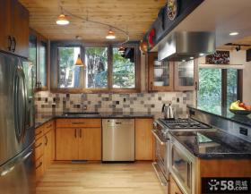 美式厨房实木橱柜效果图欣赏