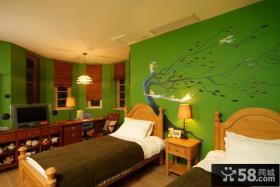 双胞胎儿童房墙面彩绘装修效果图