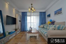 地中海风格客厅电视背景墙装修效果图片大全