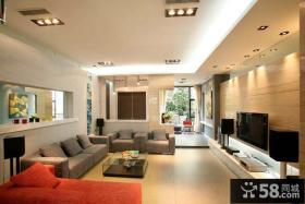 现代简约客厅电视背景墙设计案例