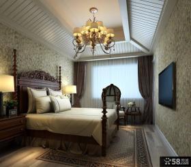 欧式风格主卧室吊灯装修效果图