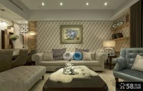 欧式风格客厅沙发背景墙挂画图片