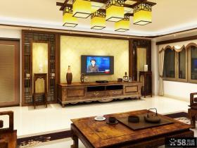 中式别墅客厅瓷砖电视背景墙
