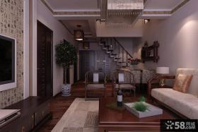 复式楼中式实木沙发图片