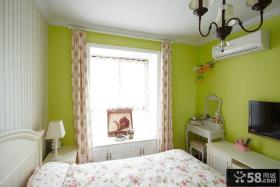 田园乡村设计卧室窗帘图片
