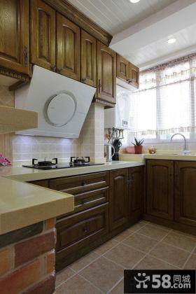 美式厨房橱柜大理石台面图片