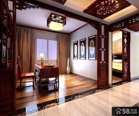 中式古典的四居室书房装修效果图大全2012图片