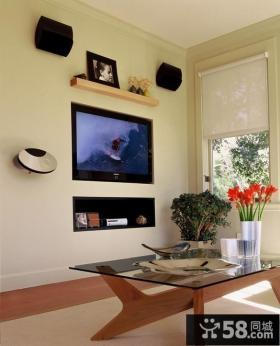 客厅镶嵌式电视背景墙装修效果图 客厅茶几装修效果图