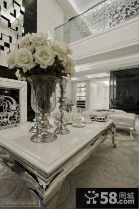 欧式别墅客厅茶几装饰图片