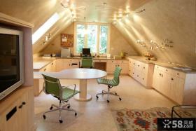 阁楼装修效果图 美式阁楼厨房装修设计图片