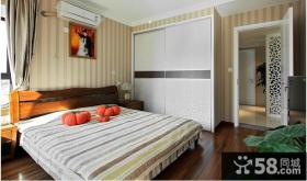 现代风格二居卧室样板房装修效果图片