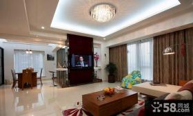 简约风格三室两厅客厅电视墙装修效果图
