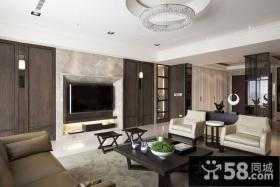 深沉大气的客厅电视背景墙装修效果图大全2012图片