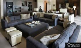 现代风格别墅客厅沙发摆放效果图