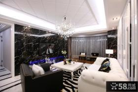 欧式新古典客厅大理石电视背景墙效果图