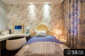 现代简约风格卧室床头壁纸效果图大全2013图片