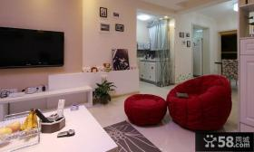 70平小户型客厅电视背景墙装修效果图