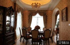 美式风格餐厅实木餐桌椅图片