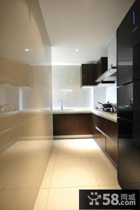 现代简约整体厨房L型橱柜效果图