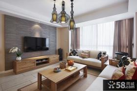 简约美式装修客厅电视背景墙效果图