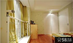 房间飘窗黄色窗帘设计图片