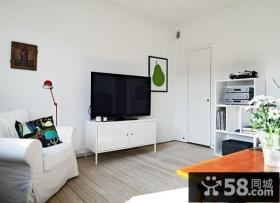 46平米简约小资单身公寓客厅电视背景墙装修效果图