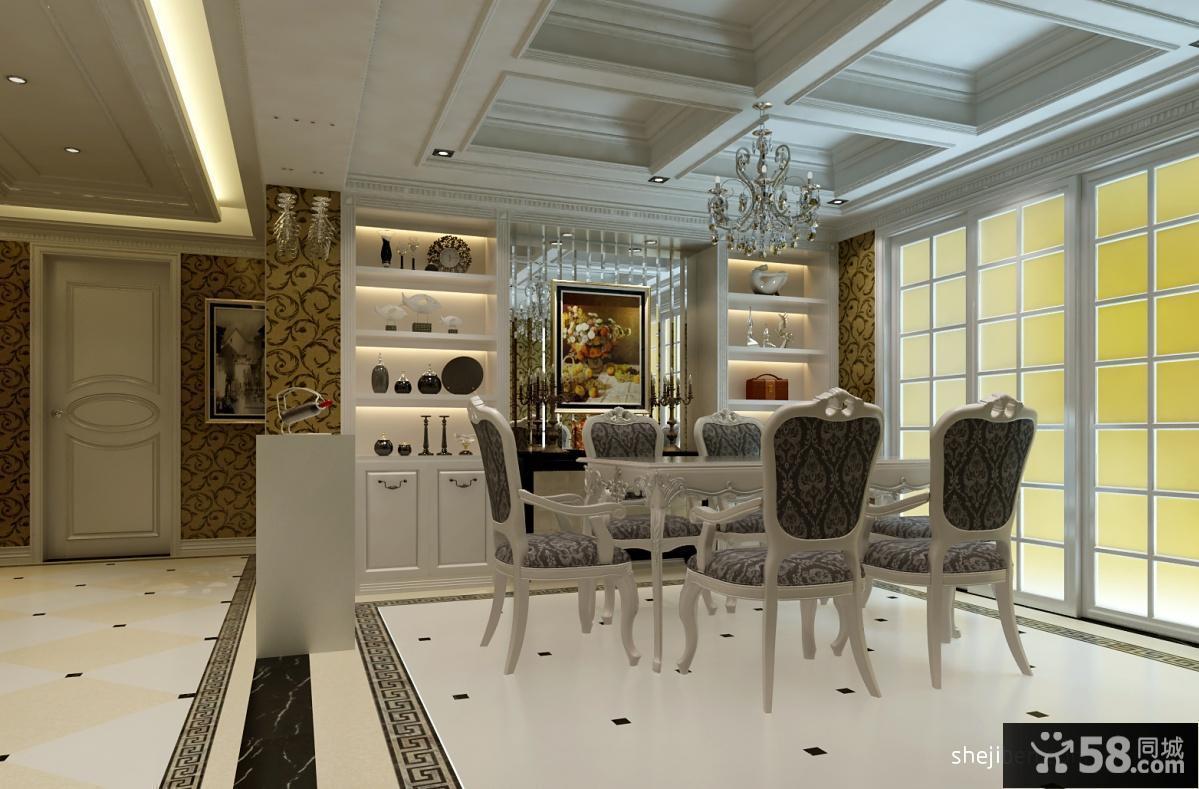 欧式餐厅吊顶装修效果图 欧式餐厅酒柜装修