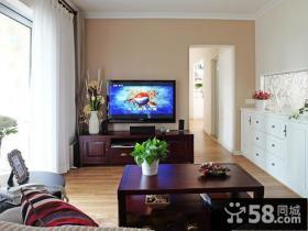 简单客厅电视机背景墙装修