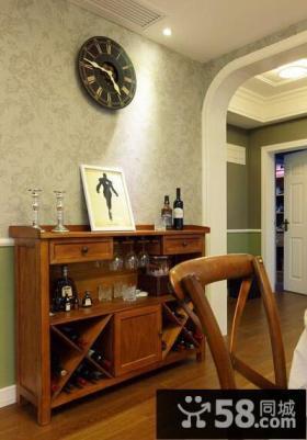 餐厅玄关实木储物柜图片