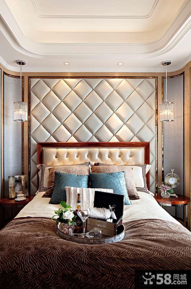 简欧卧室软包背景墙效果图图片
