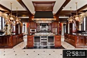 美式奢华的复式楼厨房橱柜装修效果图大全2014图片