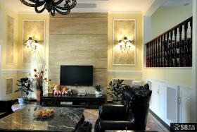 欧式别墅客厅石材电视背景墙装修效果图大全
