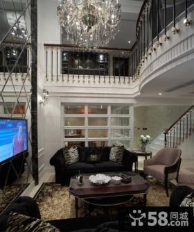 现代复式楼客厅电视机背景墙效果图片大全