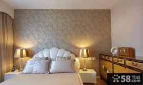 现代卧室田园墙纸装修效果图