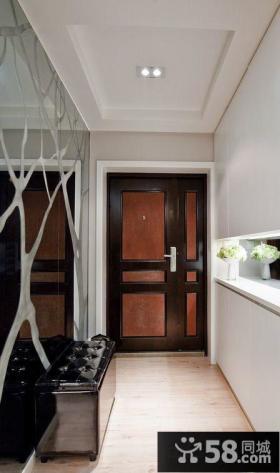 进门玄关镜面背景墙装饰效果图片