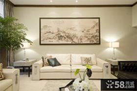 新中式客厅沙发背景墙装饰画图片