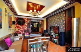 中式装修风格客厅吊顶效果图