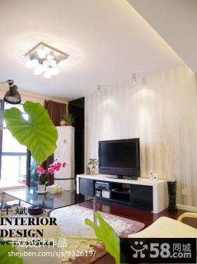 现代80平米小户型条纹壁纸电视墙装修效果图