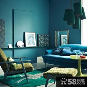小户型极简蓝调客厅装修效果图大全2013图片