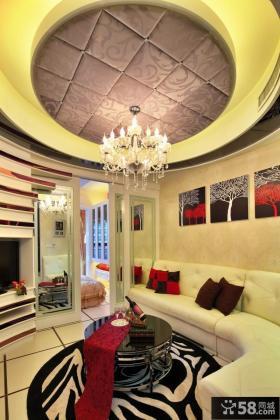 现代客厅圆形吊顶造型设计