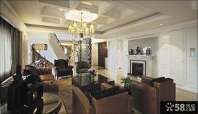 现代欧式别墅客厅吊顶装修效果图