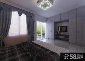 西岭华庭三居室卧室电视背景墙装修效果图大全2012图片