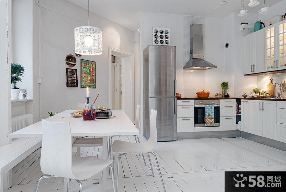 家庭开放式厨房餐厅一体装修效果图