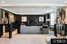 美式公寓客厅电视背景墙装修设计图片