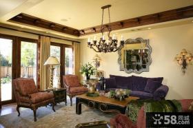 美式独立乡村别墅客厅装修效果图大全2012图片