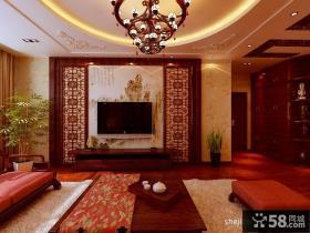 四室两厅客厅电视背景墙装修样板房