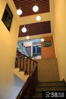 中式实木楼梯扶手效果图