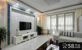 简欧地中海设计客厅电视背景墙图片